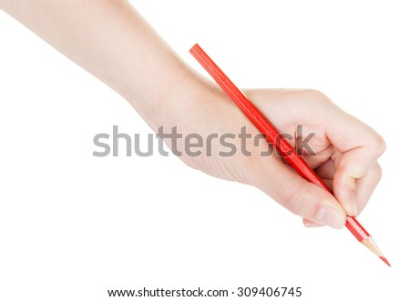 hand writes by red pencil isolated on white background