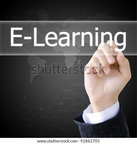 hand writing a e-learning word - stock photo