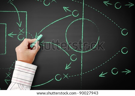 Hand writing a soccer game strategy on a blackboard.