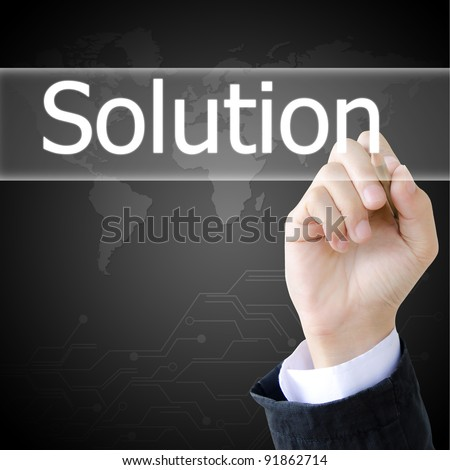 hand writing a solution word - stock photo