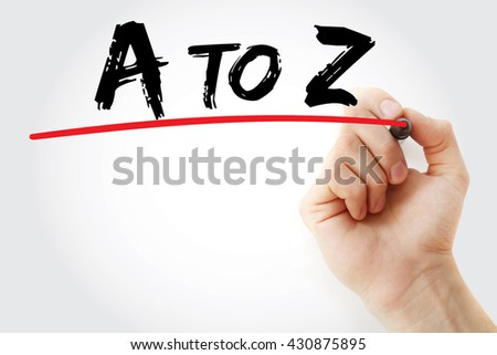 Hand writing A to Z with marker, business concept - stock photo