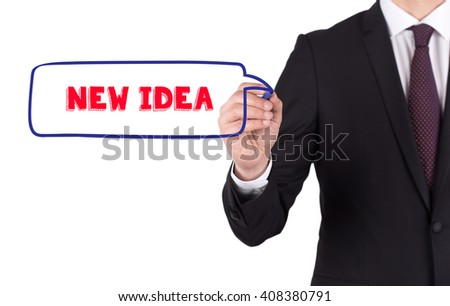 Hand writing a word NEW IDEA on white board - stock photo
