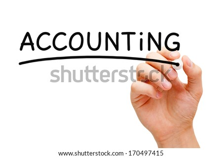 Hand writing Accounting Concept with black marker on transparent wipe board. - stock photo