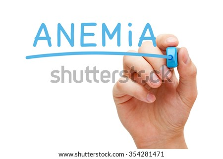 Hand writing Anemia with blue marker on transparent wipe board.