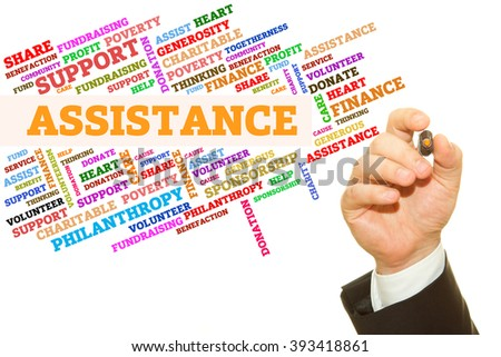 Hand writing Assistance word on a transparent wipe board. Word collage concept. - stock photo