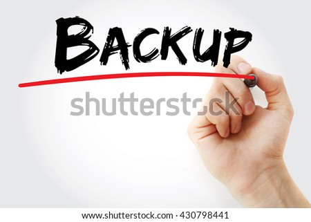 Hand writing Backup with marker, business concept - stock photo