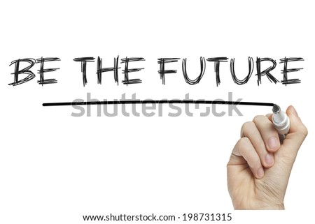 Hand writing be the future on a white board - stock photo