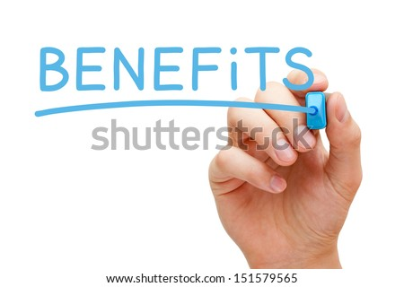 Hand writing Benefits with blue marker on transparent wipe board. - stock photo