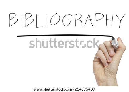 Hand writing bibliography on a white board - stock photo