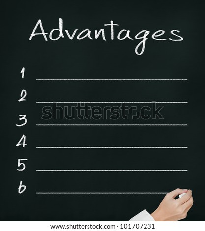 hand writing blank list of advantages on chalkboard - stock photo