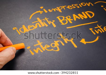 Hand writing Brand concept on chalkboard, focus at Integrity word - stock photo