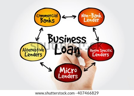Hand writing Business Loan sources mind map flowchart business concept for presentations and reports - stock photo