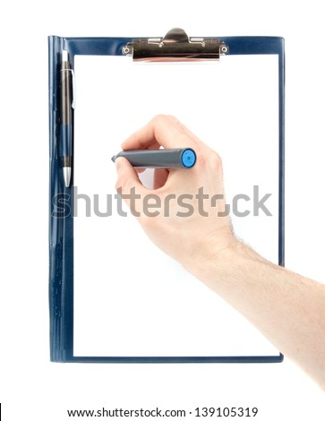 Hand writing by a felt tip pen on an empty document in a clipboard isolated on white background
