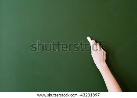 hand writing by chalk on a blackboard - stock photo