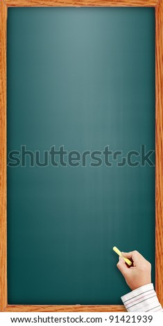 hand writing by chalk on a Vertical blackboard. Useful as background space for text or image