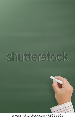 hand writing by white chalk on a blackboard. Useful as background space for text or image