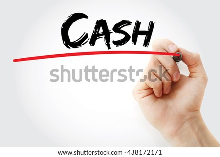 Hand writing CASH with marker, business concept - stock photo