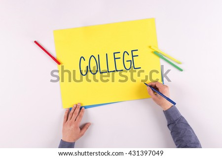 Hand writing College on yellow paper - stock photo