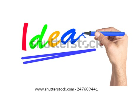 Hand writing colorful word Idea on transparent board - stock photo