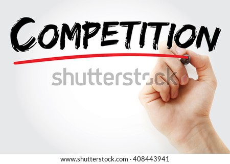 Hand writing Competition with marker, business concept background - stock photo