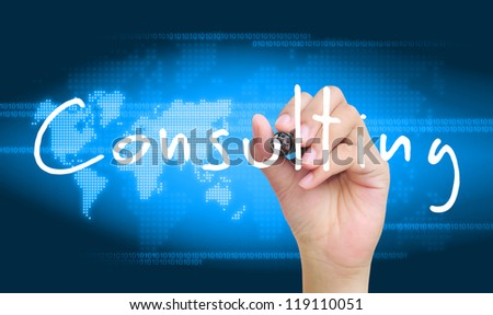hand writing consulting - stock photo