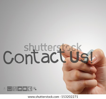 Hand writing Contact us as concept - stock photo