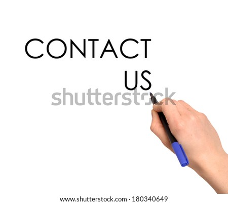 Hand writing Contact Us with black marker on transparent wipe board.  - stock photo