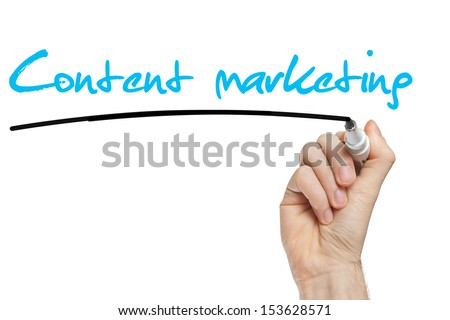 Hand writing Content Marketing with blue marker on transparent wipe board - stock photo