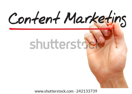 Hand writing Content Marketing with red marker, business concept - stock photo