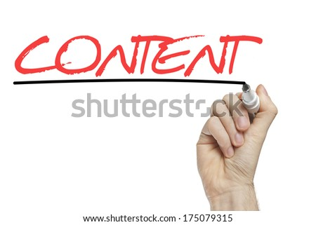 Hand writing content on a white board  - stock photo