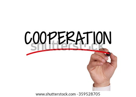 Hand writing COOPERATION with Black Marker on Transparent Wipe Board - stock photo