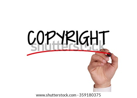 Hand writing COPYRIGHT with Black Marker on Transparent Wipe Board - stock photo