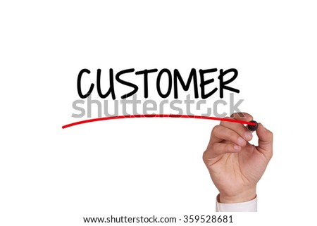Hand writing CUSTOMER with Black Marker on Transparent Wipe Board - stock photo