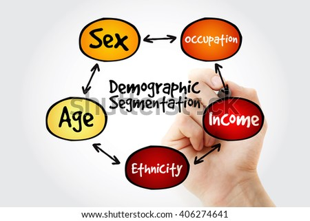 Hand writing Demographic segmentation mind map flowchart social business concept for presentations and reports - stock photo