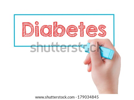 Hand writing Diabetes with blue and red markesr on transparent wipe board. - stock photo