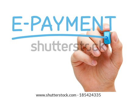 Hand writing E-payment with blue marker on transparent wipe board.