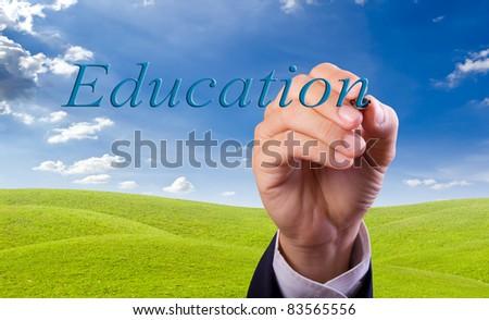 hand writing education word - stock photo
