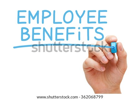 Hand writing Employee Benefits with blue marker on transparent wipe board isolated on white. - stock photo