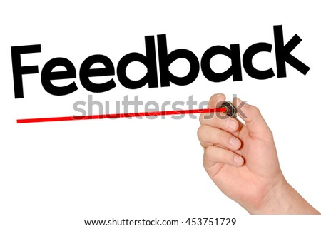Hand writing feedback with marker - stock photo
