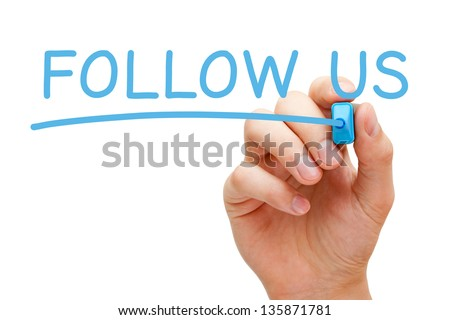 Hand writing Follow Us with blue marker on transparent wipe board. - stock photo