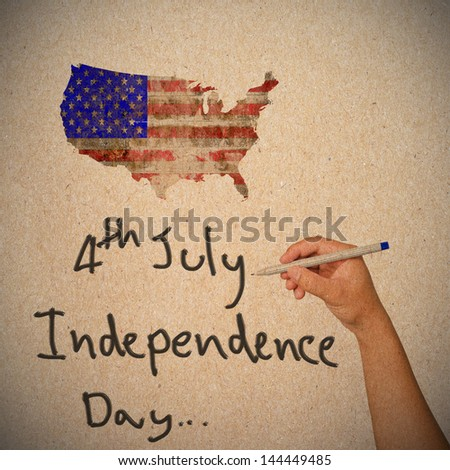 Hand writing for Independence Day, 4 th of July. - stock photo