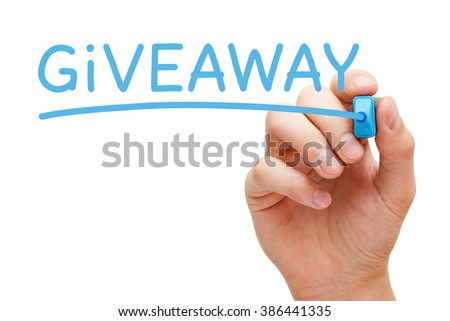 Hand writing Giveaway with blue marker on transparent wipe board.