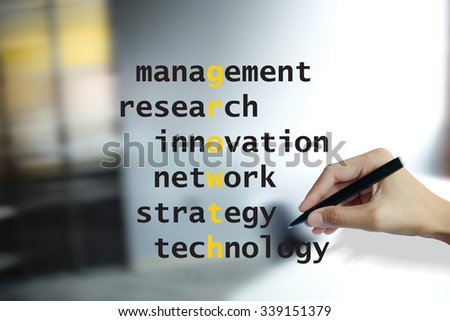 hand writing growth puzzle words crossword , business idea , busines concept - stock photo