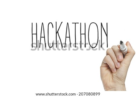 Hand writing hackathon on a white board - stock photo