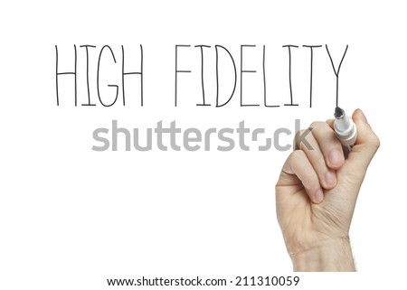 Hand writing high fidelityon a white board - stock photo