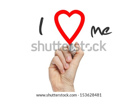 Hand writing I Love Me with red marker on transparent wipe board - stock photo