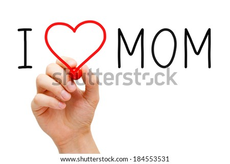Hand writing I Love Mom with red marker on transparent wipe board. - stock photo