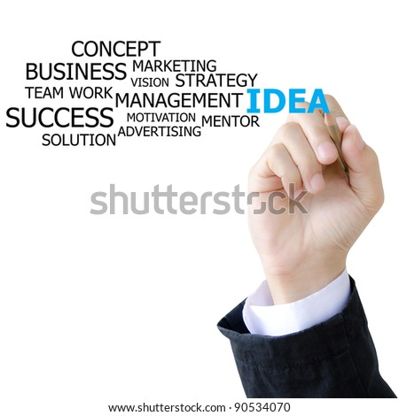hand writing idea words on whiteboard - stock photo