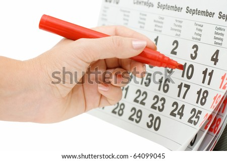 Hand writing important date isolated on white background