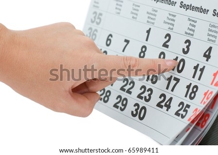 Hand writing important date isolated on white background - stock photo